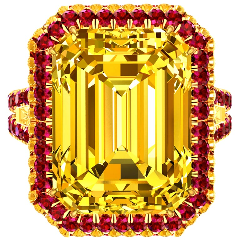 10 Carat Yellow Sapphire Emerald Cut and Ruby Ring For Sale