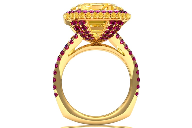 Modern 10 Carat Yellow Sapphire Emerald Cut and Ruby Ring For Sale