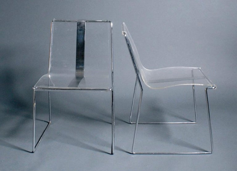 10 transparent Lucite chairs with chrome structure Designed by Jacques Charpertier, circa 1970. Small production retailed and produced By Jacques Charpentier. Good condition.