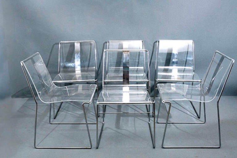 French 10 Chair in Lucite and Steel by Jacques Charpentier For Sale