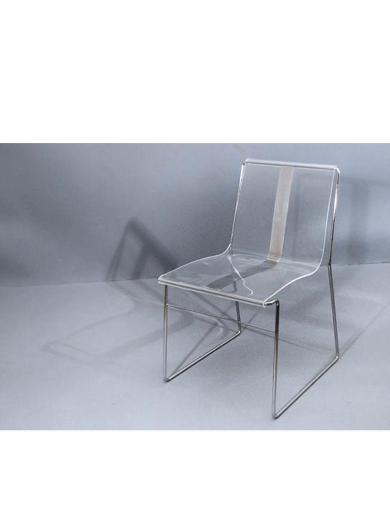10 Chair in Lucite and Steel by Jacques Charpentier In Good Condition For Sale In Saint-Ouen, FR