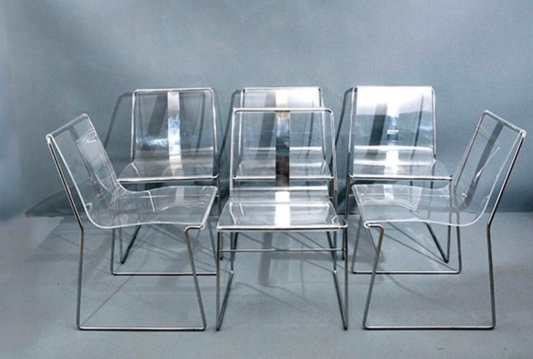 Late 20th Century 10 Chair in Lucite and Steel by Jacques Charpentier For Sale
