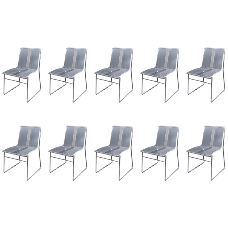 10 Chair in Lucite and Steel by Jacques Charpentier For Sale