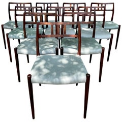 10 Chairs by Niels O. Møller for J.L. Møllers Møbelfabrik w/ Pony Hide Seats