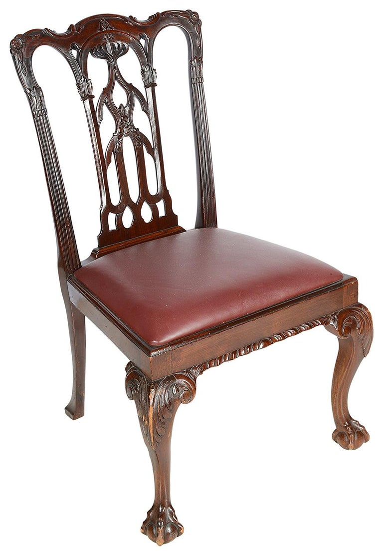 Carved 10 Chippendale Revival Mahogany Dining Chairs, circa 1900 For Sale