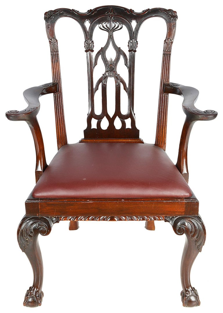 10 Chippendale Revival Mahogany Dining Chairs, circa 1900 In Good Condition For Sale In Brighton, Sussex