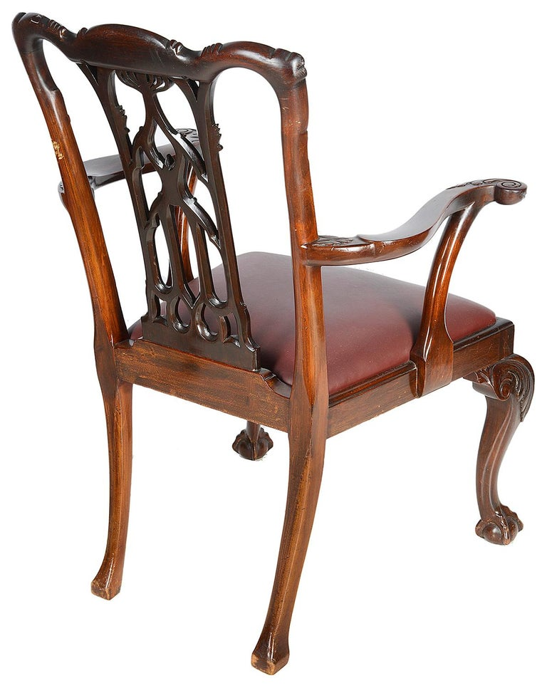 19th Century 10 Chippendale Revival Mahogany Dining Chairs, circa 1900 For Sale
