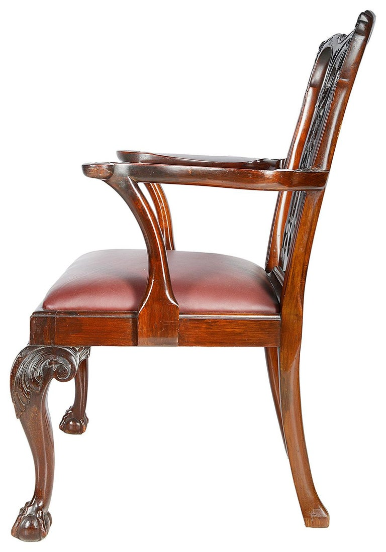 10 Chippendale Revival Mahogany Dining Chairs, circa 1900 For Sale 2