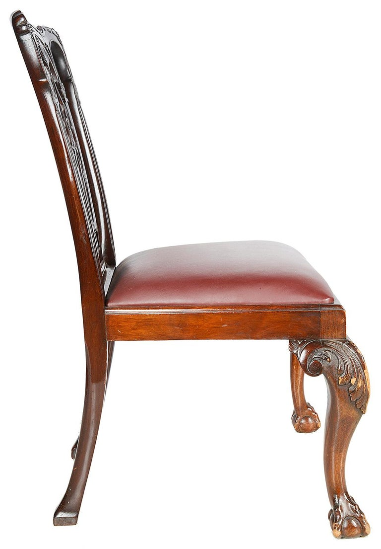 10 Chippendale Revival Mahogany Dining Chairs, circa 1900 For Sale 3