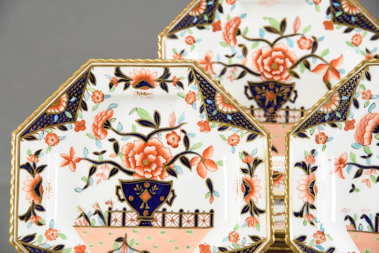 Imagine serving a first course or dessert course on these unusually shaped plates, all decorated in the Imari style and color way, highlighted in gold. The octagonal shape with notched rims adds a dramatic visual to the traditional round table