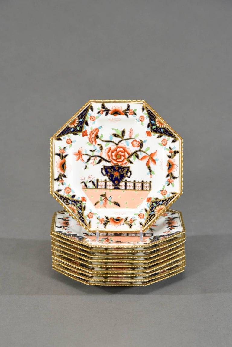 English Ten Coalport Octagonal Imari Dessert Plates Aesthetic Movement Dated 1891 For Sale