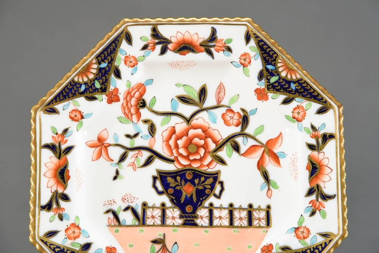 Hand-Painted Ten Coalport Octagonal Imari Dessert Plates Aesthetic Movement Dated 1891 For Sale