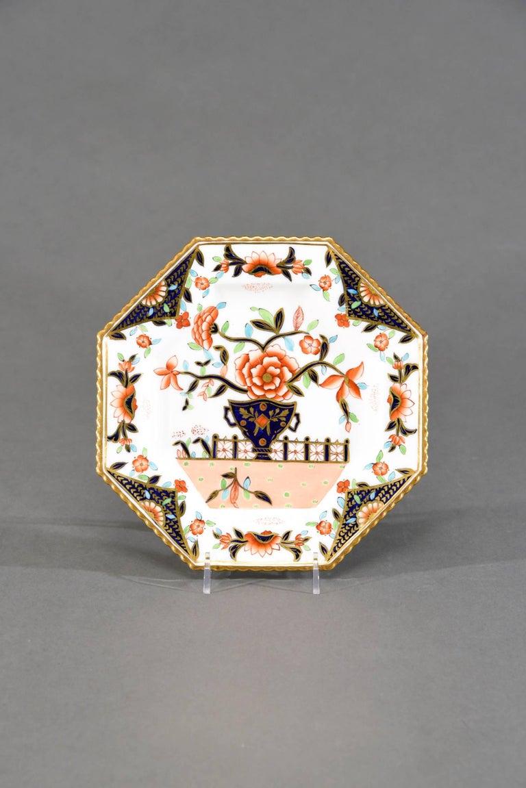 Ten Coalport Octagonal Imari Dessert Plates Aesthetic Movement Dated 1891 In Excellent Condition For Sale In Great Barrington, MA