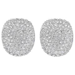 10 Carat Diamond Cocktail Stud Earrings Women in 18 Karat White Gold 23 Grams