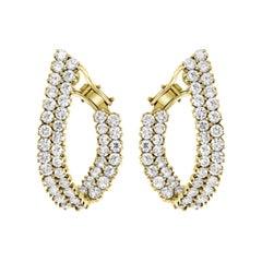 10 Carat Diamond VS Quality Hoop Earrings Women in 18 Karat Yellow Gold 18 Grams