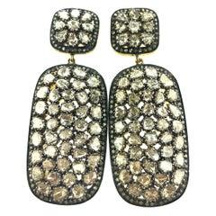 10 ct Old Mine Cut 'Polki' Diamond Earring in Oxidized Sterling Silver, 14K Gold