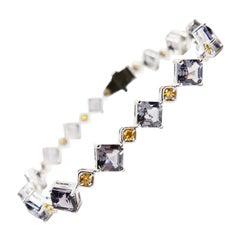 10 CTW Asscher Cut Spinel & Fancy Vivid Yellow Diamond 18 Karat Tennis Bracelet