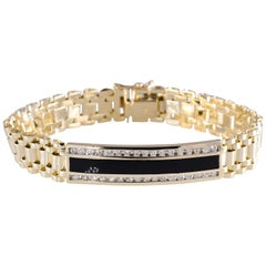 1.0 Carat Diamond and Onyx Bracelet 14 Karat Gold 35.6 Gms Rolex Style Band