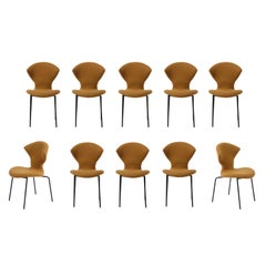 10 Dining Chairs with Metal Legs by Dangles & DeFrance for Strafor, France 1950s