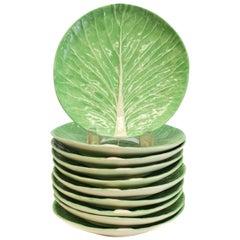 10 Dodie Thayer Lettuce Leaf Ware Porcelain Salad Plates, Handcrafted Earthe