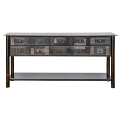 10-Drawer Housetop Quilt Table with Shelf, Functional Steel Art Furniture