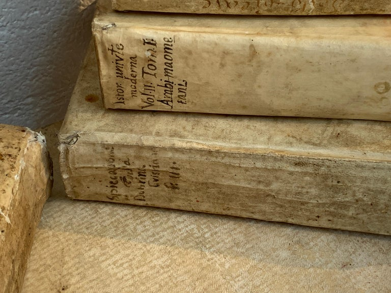 Machine-Made 10 Early Vellum Books For Sale