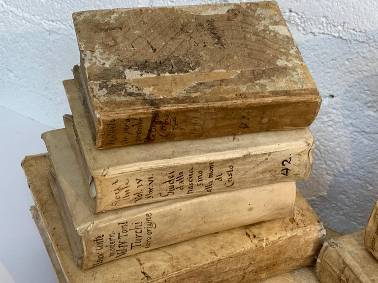 19th Century 10 Early Vellum Books For Sale