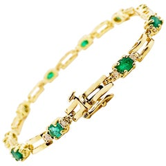 10 Emerald Bracelet with Diamonds 14 Karat Gold, 3.5 Carat Tennis Bracelet