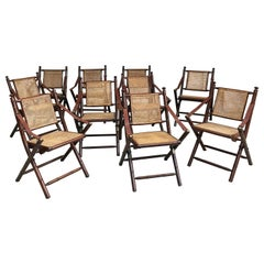 8 Faux Bamboo Folding Safari Chairs, circa 1950-1960