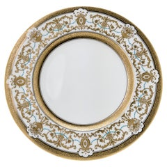 10 Gilt Encrusted and Turquoise Jewel Custom Dinner Plates, Antique English