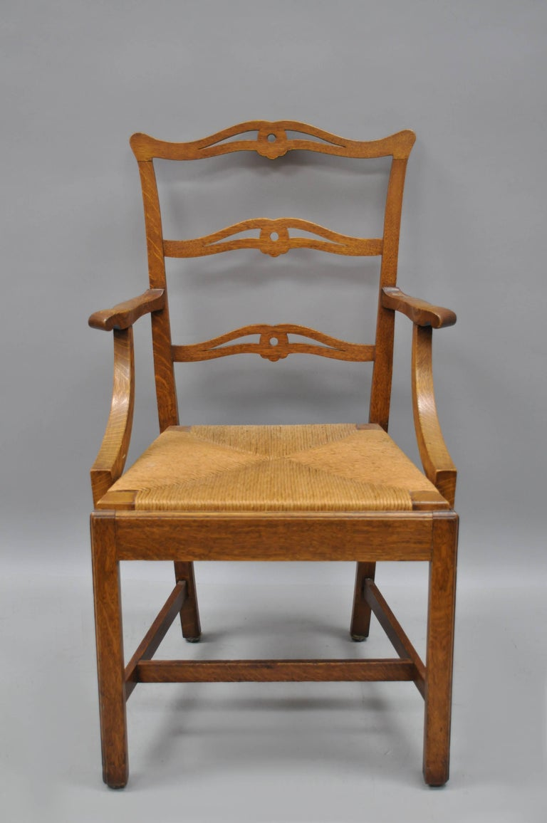 Ten Golden Oak Chippendale Mission Dining Chairs Rush Seat
