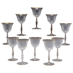 10 Hand Blown Crystal Mousseline Goblets Wine w/ Intaglio Cut Floral Decoration
