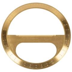 Circular Brass Protractor by J Halden & Co. in Its Original Mahogany Case