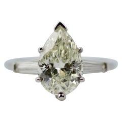 10% Iridium 90% Platinum 2 Carat Pear Shape Diamond with Tapered Baguette Ring