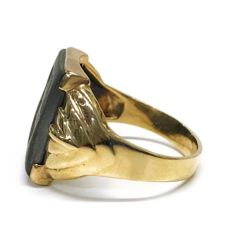 Uncut 10 Karat Art Deco Hematite Intaglio Ring, Circa 1930s For Sale