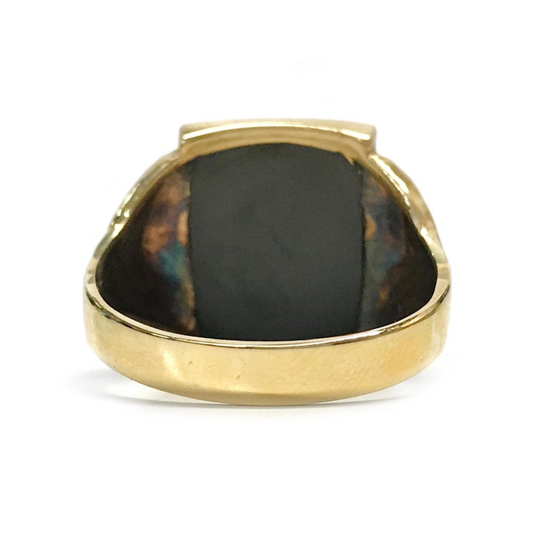 Women's or Men's 10 Karat Art Deco Hematite Intaglio Ring, Circa 1930s For Sale