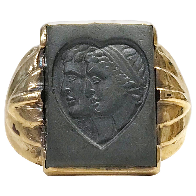 10 Karat Art Deco Hematite Intaglio Ring, Circa 1930s