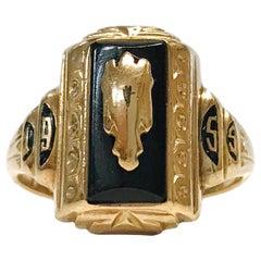 10 Karat Black Onyx School Ring, Circa 1955