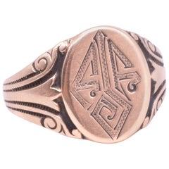 10 Karat Chased Embossed Monogrammed Enameled Signet Ring, circa 1920