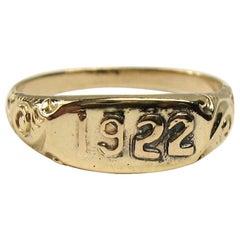 10 Karat Gold Embossed 1922 Ring