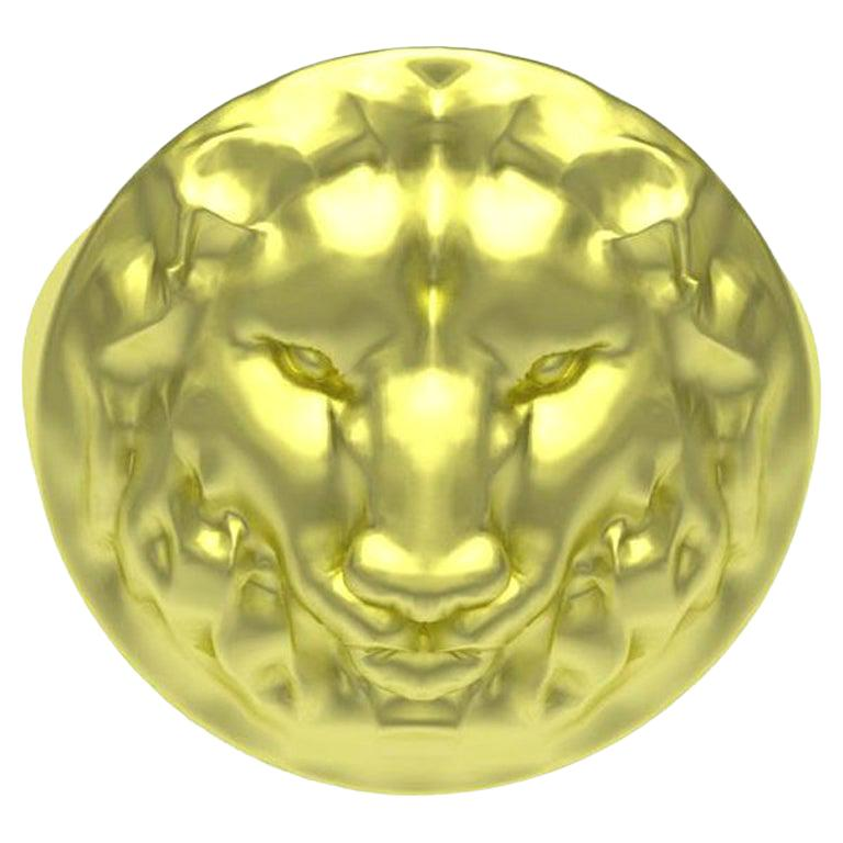 10 Karat Green Gold Lion Head Signet Ring
