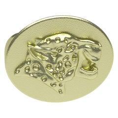 10 Karat Green Gold Spotted Leopard Signet Ring