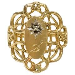 "10 Karat Ornate Diamond Monogrammed ""S"" Ring"