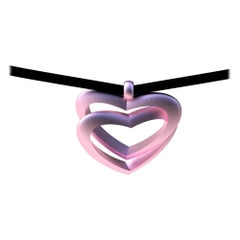 10 Karat Pink Gold Double Heart Pendant Necklace