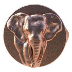 10 Karat Pink Gold Elephant Tusks Signet Ring