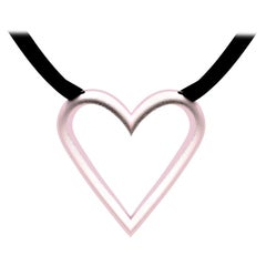 10 Karat Pink Gold Open Heart Pendant Necklace