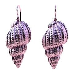 10 Karat Pink Gold Polka Dot Shell Earrings