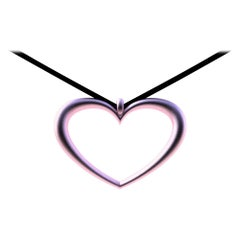 10 Karat Pink Gold Tapered Open Heart Necklace
