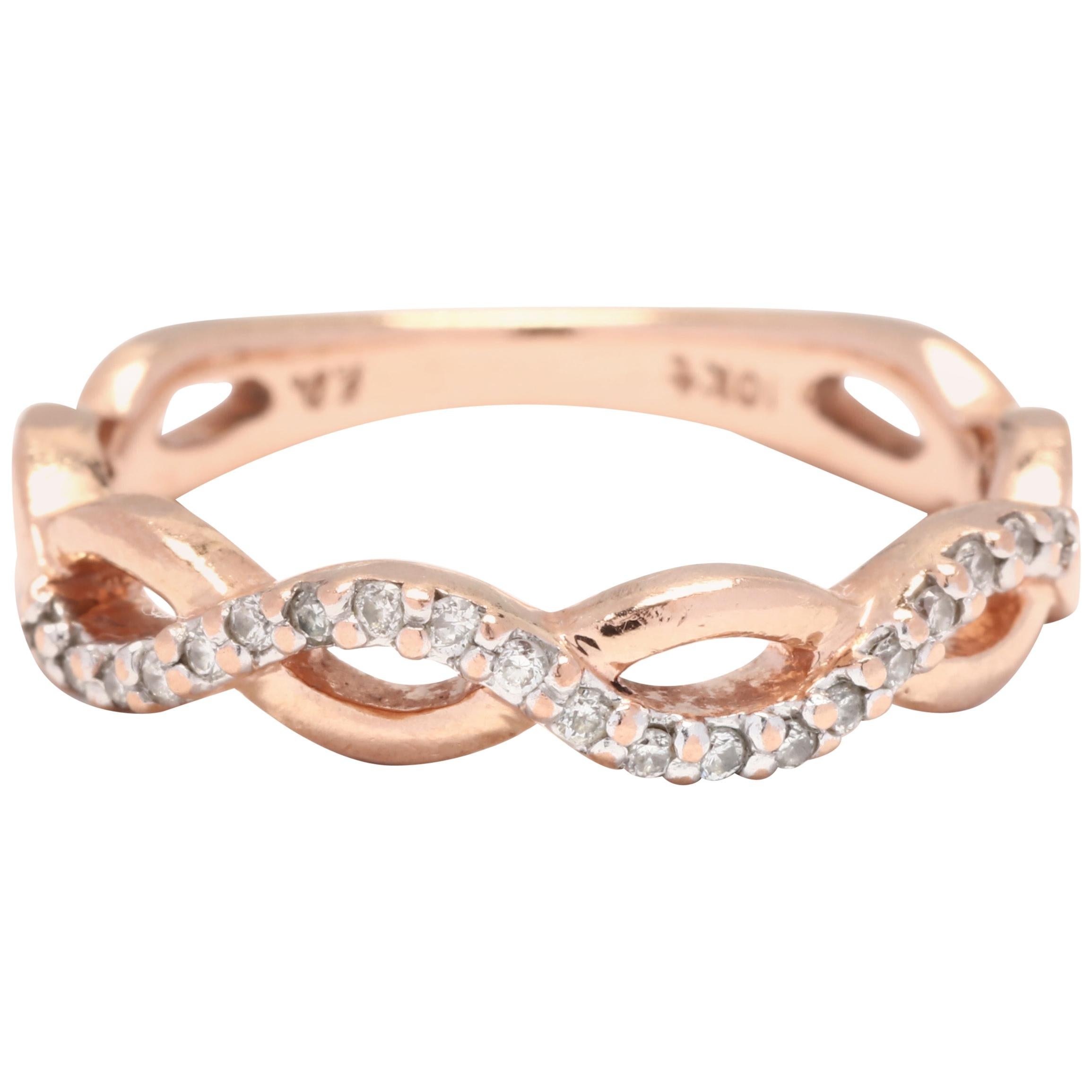 10 Karat Rose Gold and Diamond Criss Cross Infinity Band Ring