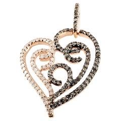 10 Karat Rose Gold Champagne and White Diamond Heart Pendant